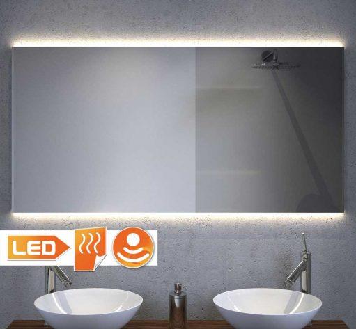 120 cm brede badkamer spiegel met verlichting, spiegelverwarming en sensor schakelaar met handige dimfunctie