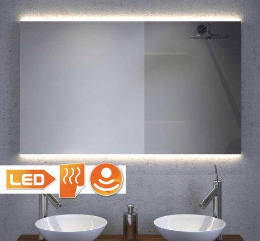 Design badkamerspiegel met indirect strijklicht en spiegel verwarming 100x60 cm