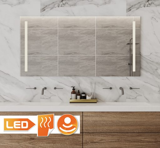 Deze 120 cm brede badkamer spiegel is links en rechts voorzien van praktische, dimbare verlichting. Ideaal bij het scheren of make-uppen!