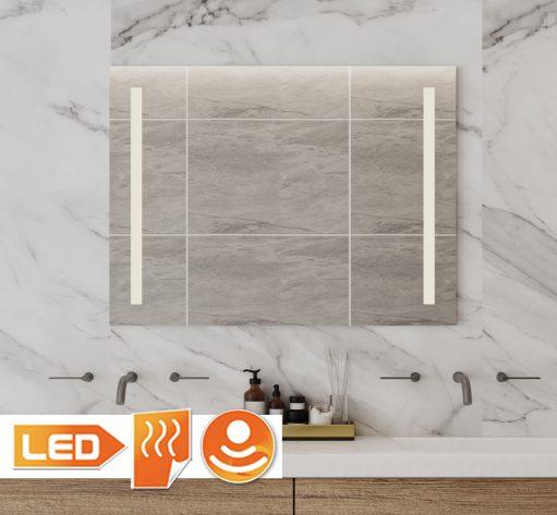 Praktische badkamerspiegel met verticale verlichting 80x60 cm
