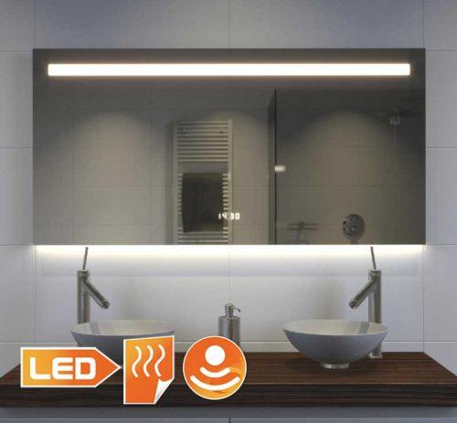 Fraaie design badkamer spiegel met vele opties, zoals verlichting, verwarming, digitale klok en sensor met dimfunctie