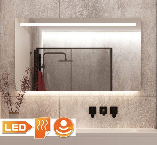 Rechthoekige spiegel met led verlichting en verwarminggrijze wand