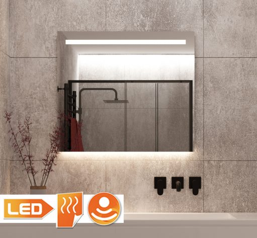 Vierkante badkamerspiegel met led verlichting en verwarming op grijze tegel