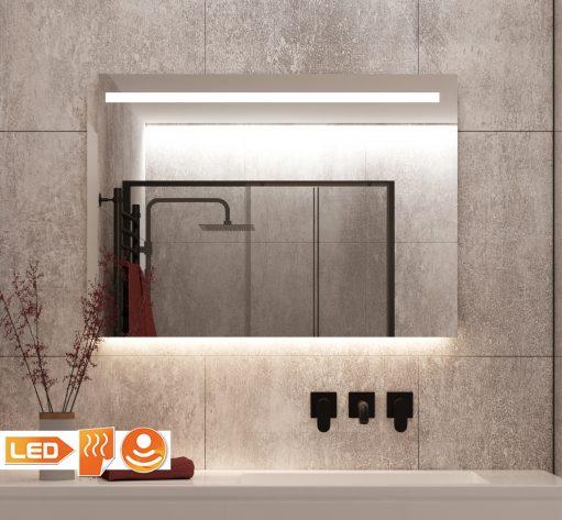 Praktische badkamer LED spiegel met spiegelverwarming