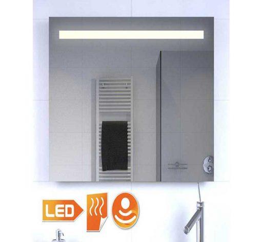 Smalle badkamer spiegel met verlichting, spiegel verwarming en sensor met dimfunctie