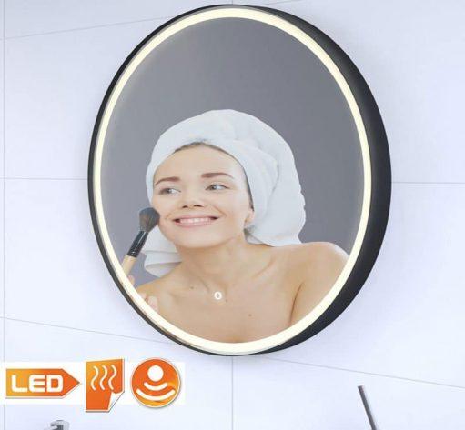 Zwarte badkamer spiegel met verlichting