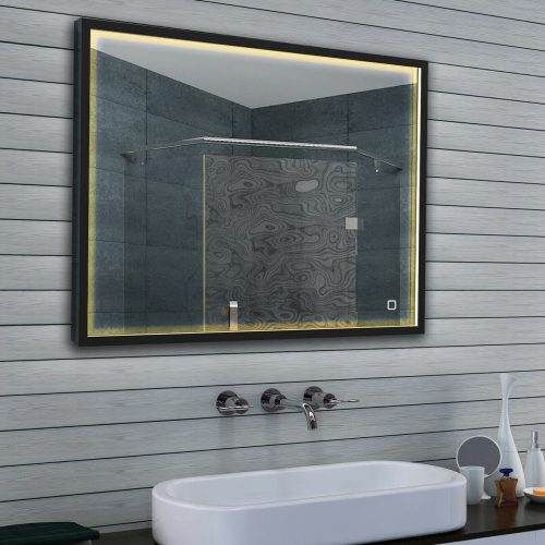 Design LED spiegel, uitgevoerd met mat zwart frame, verlichting en sensor dimmer-1