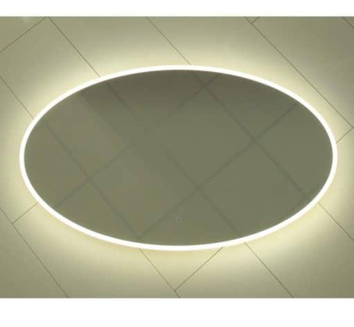 Trendy ovalen badkamerspiegel met verlichting en spiegelverwarming