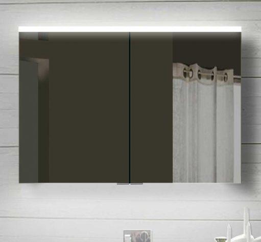 100 cm brede badkamer spiegelkast met 2 dubbelzijdig gespiegelde deuren