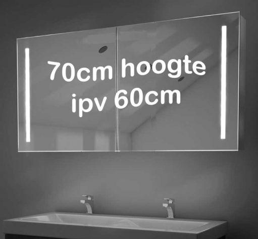 Populaire 120 cm brede aluminium spiegelkast met vele gemakken, zoals geïntegreerde verlichting en verwarming