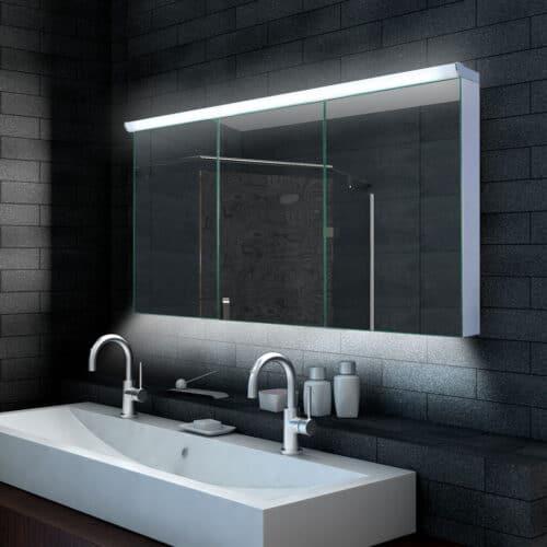 140 cm brede aluminium badkamer spiegelkast met verlichting en stopcontact