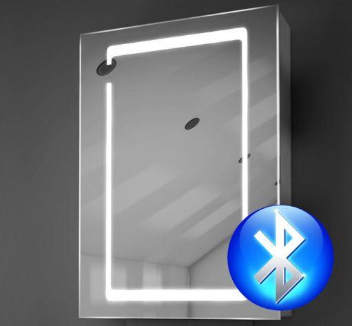 Aluminium spiegelkastje met hoge lichtopbrengst en Bluetooth muzieksysteem