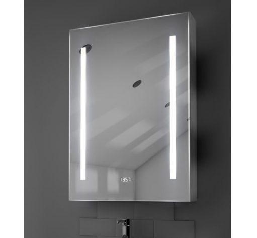 Aluminium badkamerspiegelkastje met klok, verlichting en spiegelverwarming