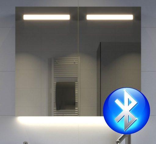80 cm brede aluminium badkamer spiegelkast met bluetooth muziek systeem en 2 speakers