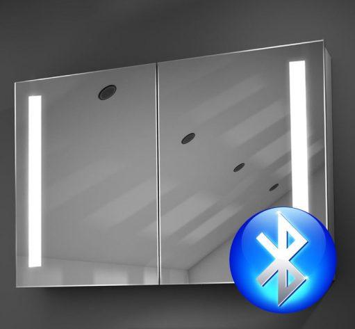 90 cm brede aluminium spiegelkast met verlichting, muziek en spiegelverwarming