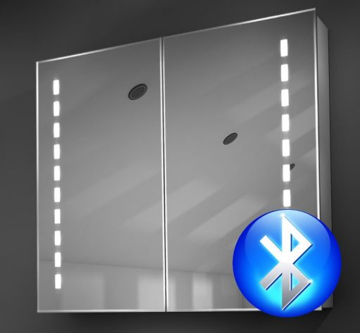 80 cm brede alu badkamer spiegelkast met verlichting en spiegelverwarming