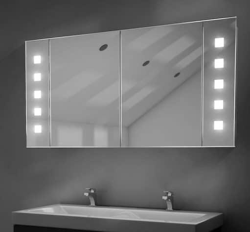 Fraaie aluminium spiegelkast met een speels lichtdesign!