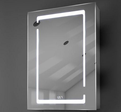 Design badkamerspiegelkast met verlichting, klok en spiegelverwarming