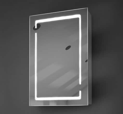 Design spiegelkast met rondom geïntegreerde verlichting en verwarming in de deur