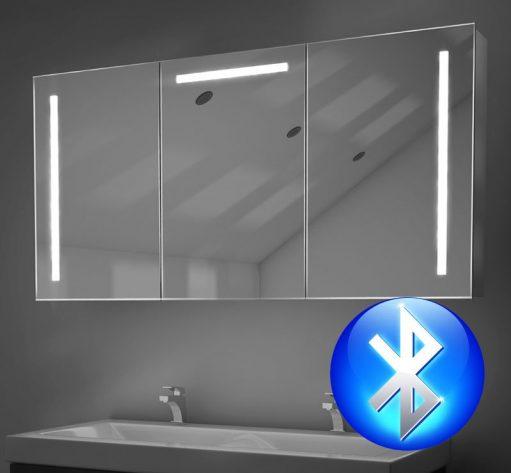 120 cm brede aluminium spiegelkast met muzieksysteem en 2 speakers