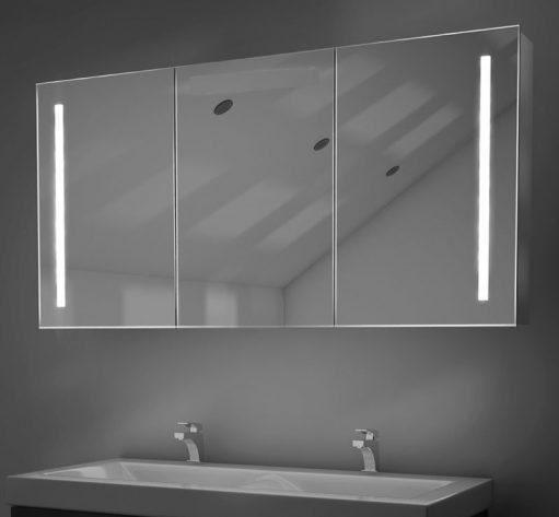 Fraaie 160 cm brede, aluminium spiegelkast met verlichting en spiegelverwarming