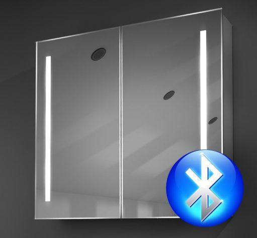 Fraaie aluminium badkamerspiegelkast met ingebouwd muzieksysteem
