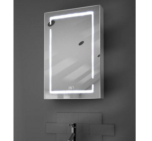 Stijlvolle smalle badkamer spiegelkast met verlichting klok en spiegelverwarming