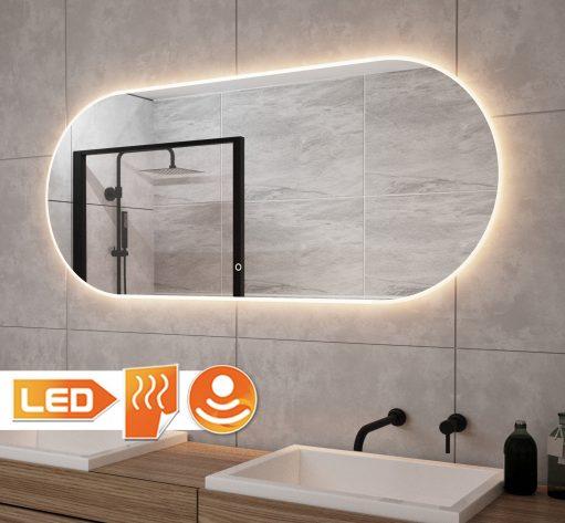 Fraaie ovalen badkamer spiegel met verlichting en verwarming 140x60 cm