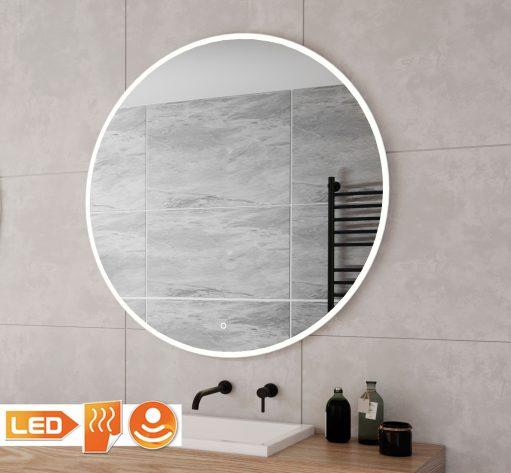 Ronde badkamer spiegel met een fraai industrieel wit frame