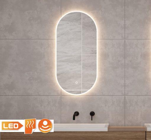 ovalen spiegel met led verlichting en anti condens werking op grijze tegel